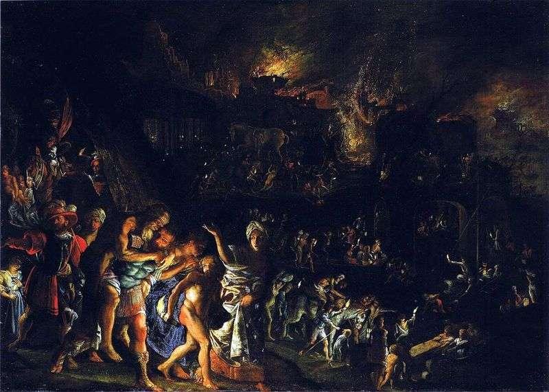 Ogień Troi   Adam Elsheimer