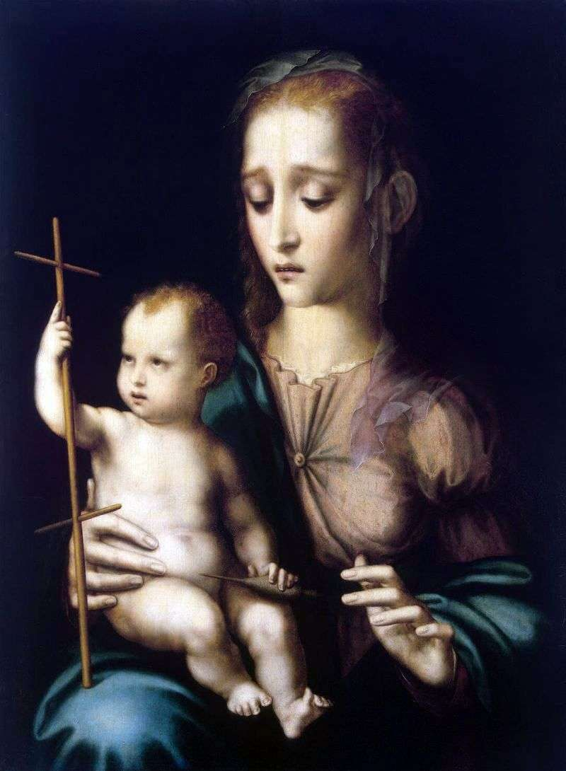 Madonna z Dzieciątkiem i kołowrotek w kształcie krzyża   Luis de Morales