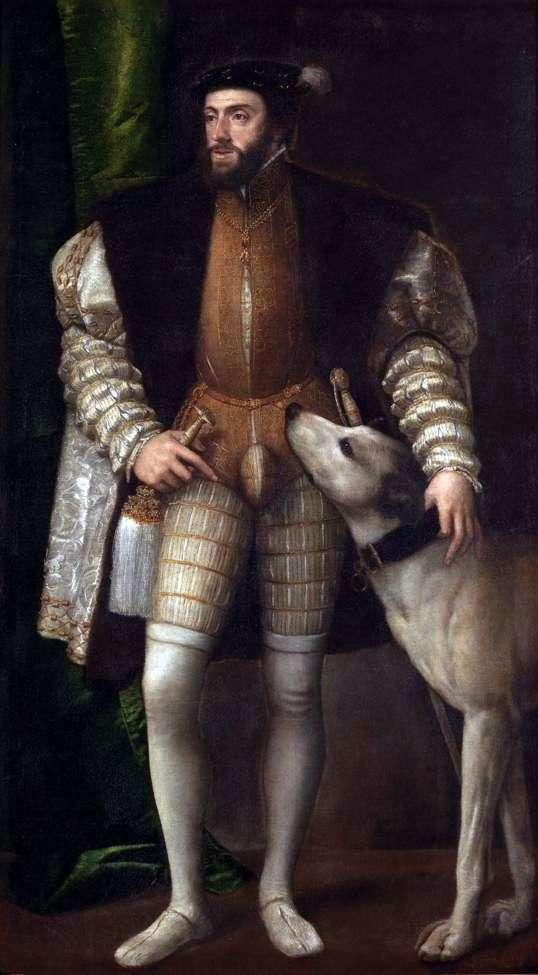 Portret Karola V z psem   Titian Vecellio