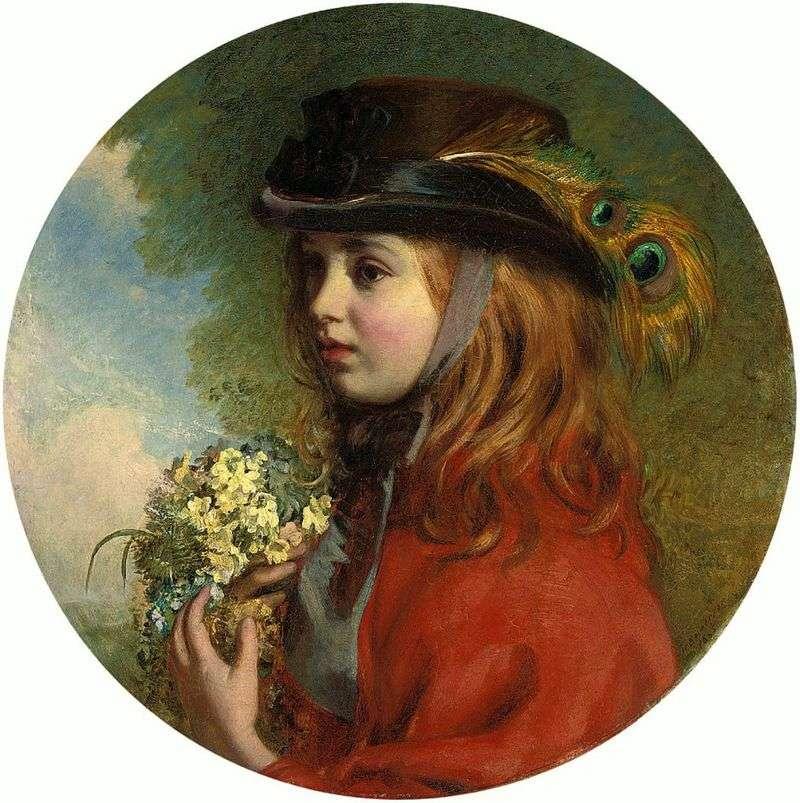Wiosna (portret dziewczynki z bukietem)   Henry Hetherington Emmerson