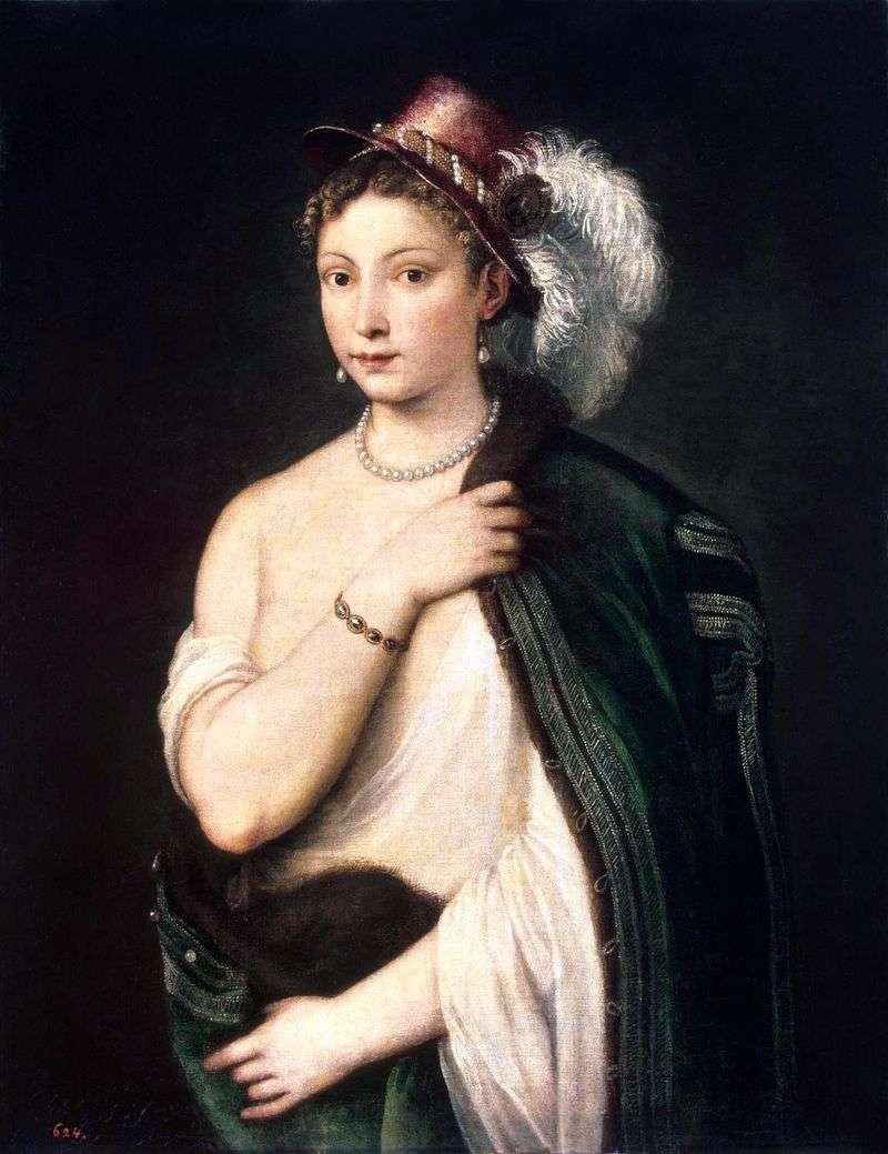 Portret młodej kobiety w kapeluszu z piórkiem   Titian Vechelio