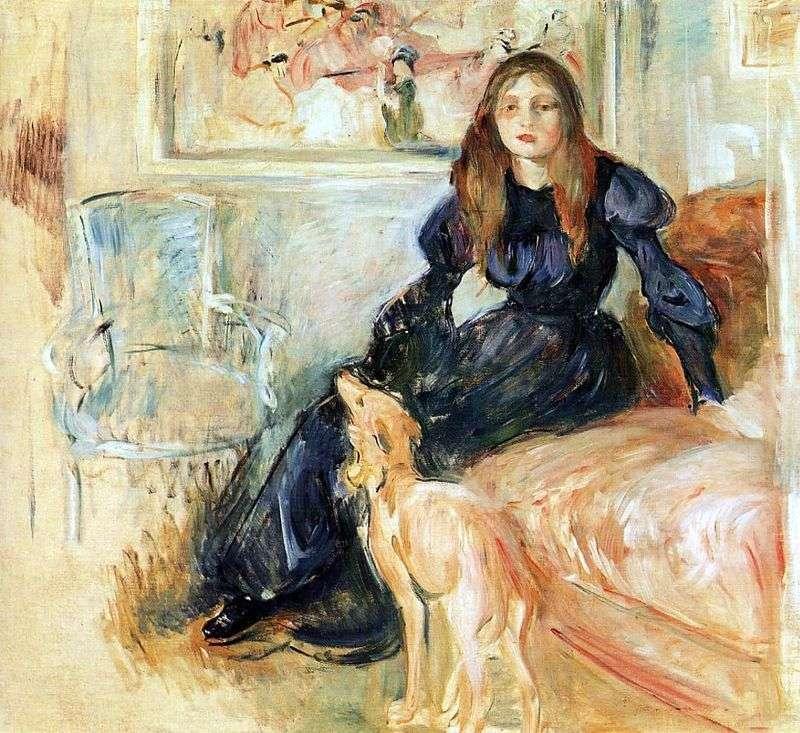 Julie Manet i jej Greyhound Laertes   Berthe Morisot