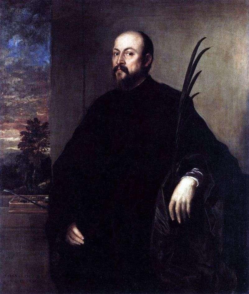 Portret mężczyzny z gałązką palmową   Titian Vechelio