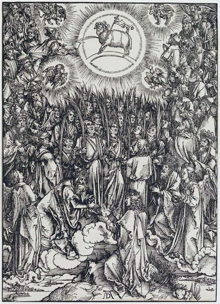 Baranek Boży i hymn dla Wybranych. Grawerowanie   Albrecht Durer
