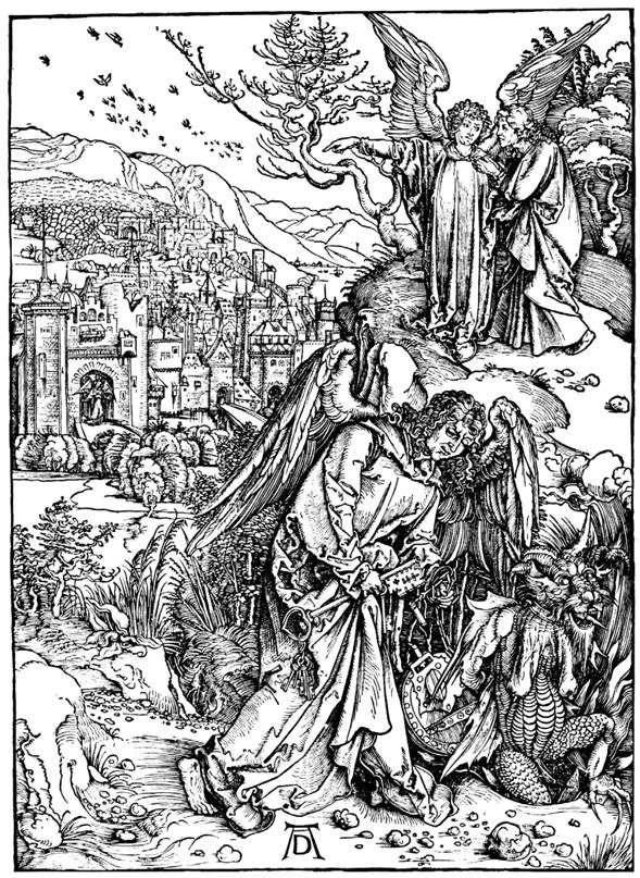 Anioł z kluczem do piekła. Grawerowanie   Albrecht Durer