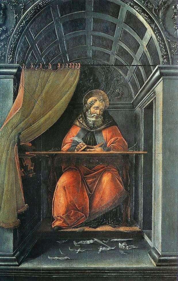 Święty Augustyn, pisząc w swojej celi   Sandro Botticelli