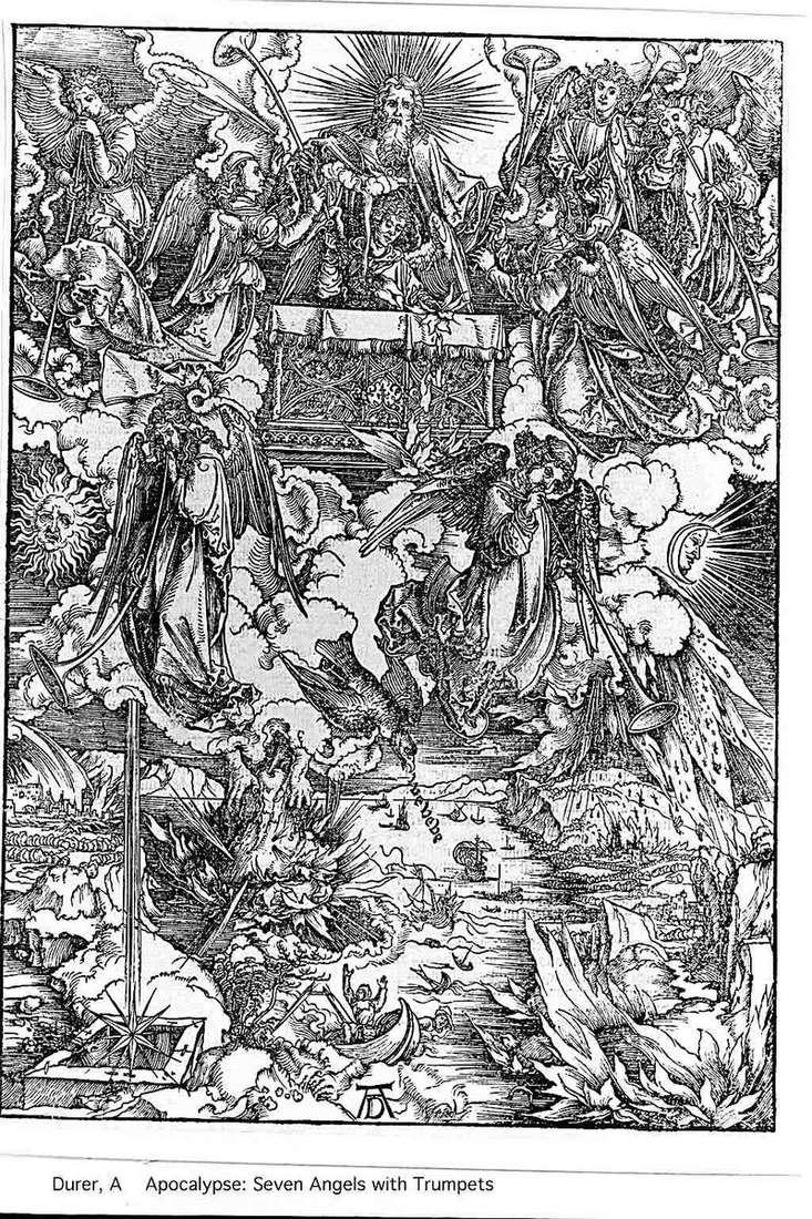 Anioły i siedem trąbek. Grawerowanie   Albrecht Durer
