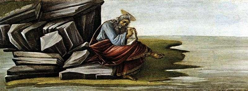 Święty Jan Teolog, pisząc Księgę Objawienia na Patmos   Sandro Botticelli
