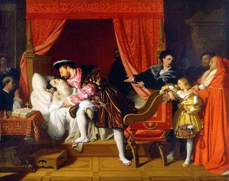 Leonardo umiera w ramionach Franciszka I   Jean Auguste Dominique Ingres