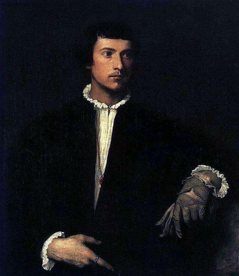 Portret młodego mężczyzny z rozdartą rękawicą   Titian Vechelio