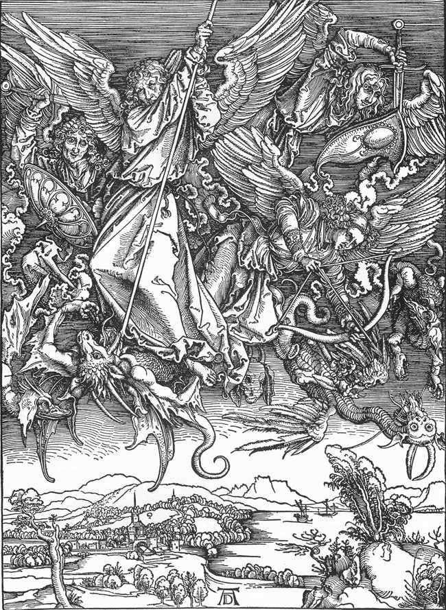 Bitwa pod Archaniołem Michałem ze smokiem   Albrechtem Durerem