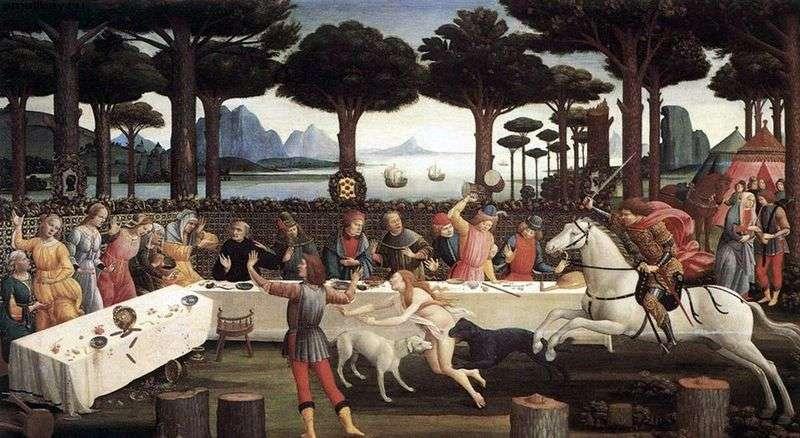 Kolacja Nastagio w Onisti (Historia Nastajo degli Onesti)   Sandro Botticelli