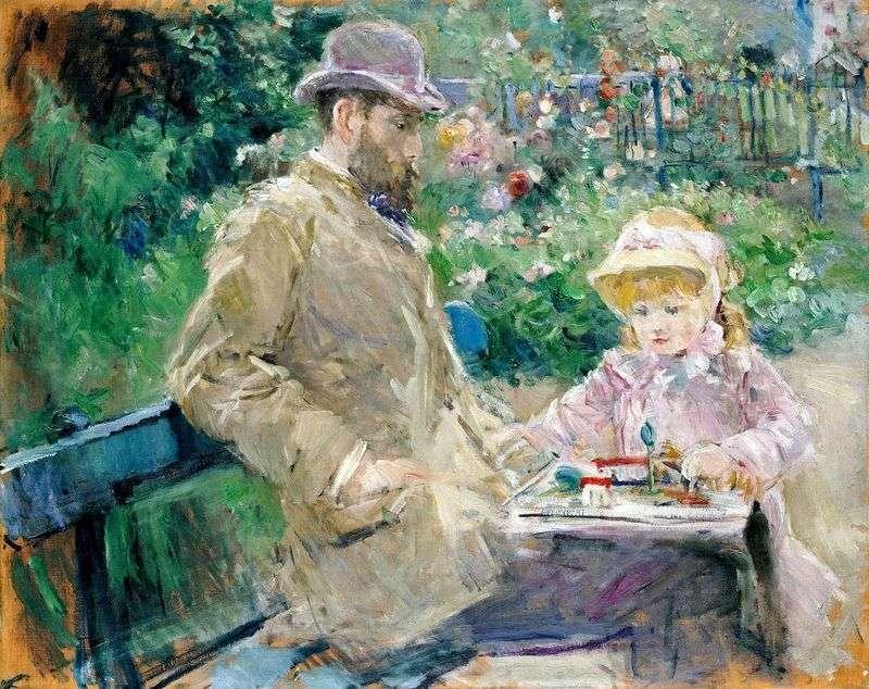 Eugene Manet z córką w Bougival   Berthe Morisot
