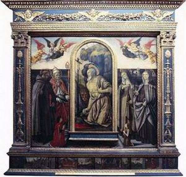 Repenting sv. Jerome ze świętymi i darczyńcami   Francesco Botticini