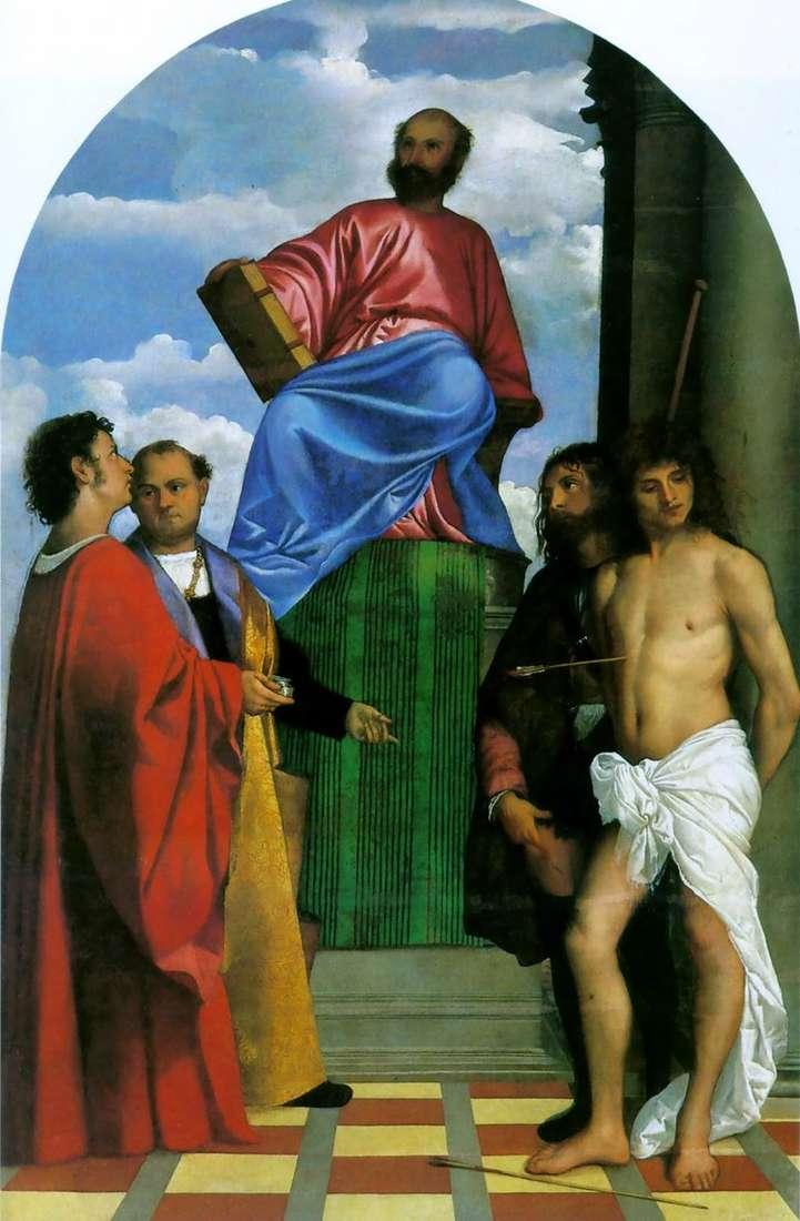 Święty Marek na ambonie ze świętymi   Tycjan Vecellio