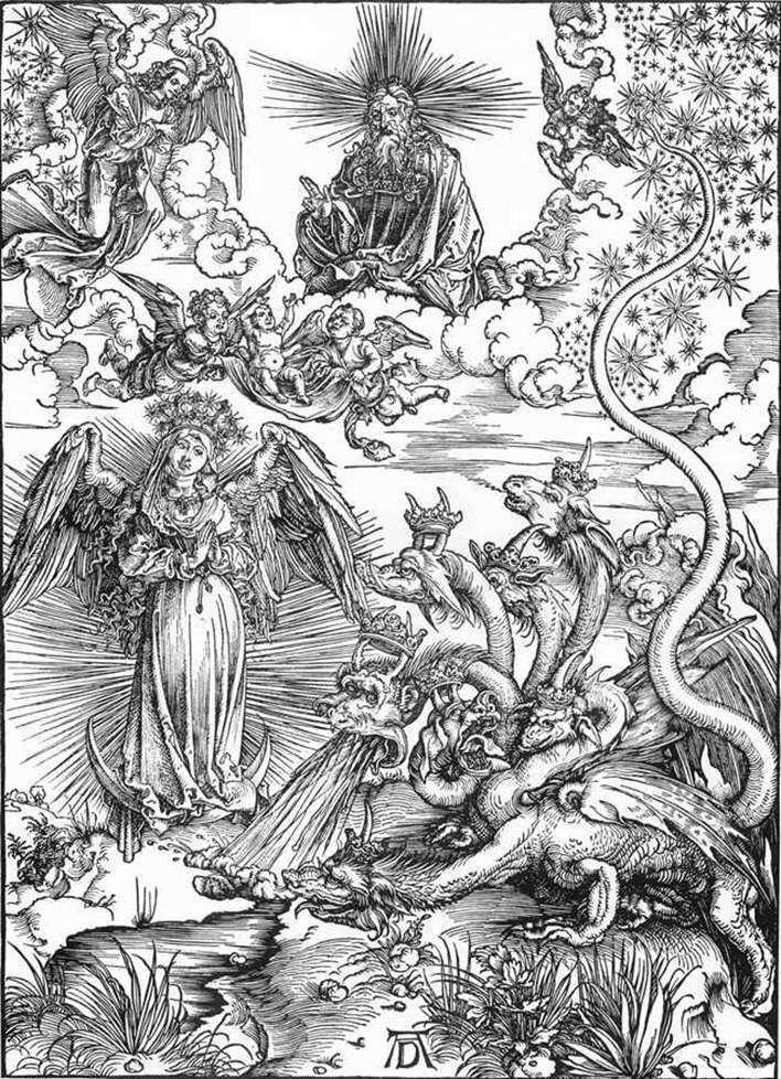 Kobieta Słońce i siedmiogłowy Smok   Albrecht Durer
