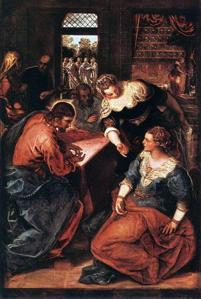 Chrystus w domu Marty i Marii   Jacopo Tintoretto