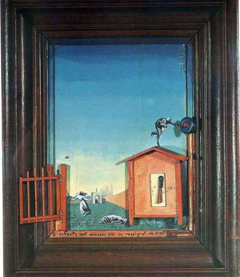 Dwoje dzieci i słowik   Max Ernst