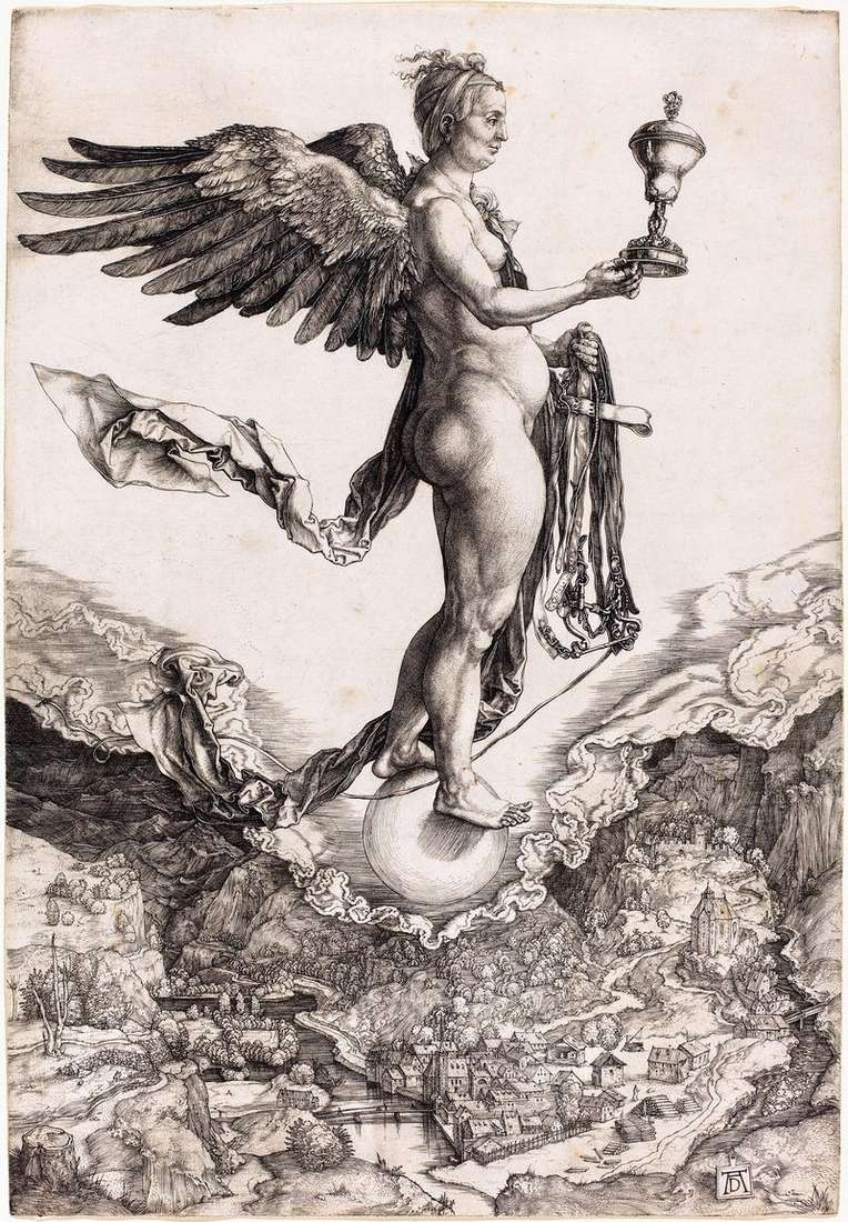 Nemezis czy bogini przeznaczenia. Grawerowanie   Albrecht Durer