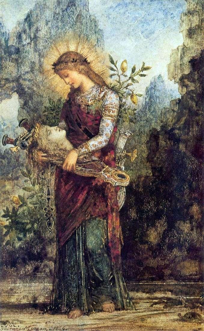 Trakiańska dziewczyna z głową Orfeusza na swojej lirze   Gustave Moreau