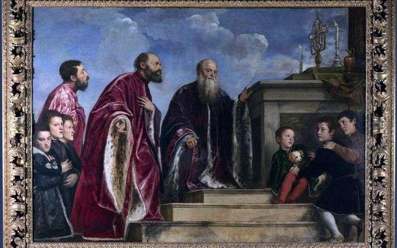 Członkowie rodziny przed relikwią Świętego Krzyża   Tycjan Vecellio