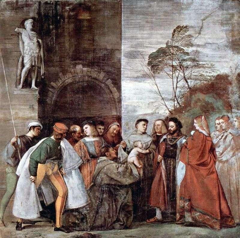 Cud z gadającym noworodkiem, który szarżuje na matkę cudzołóstwa   Tycjana Vecellio
