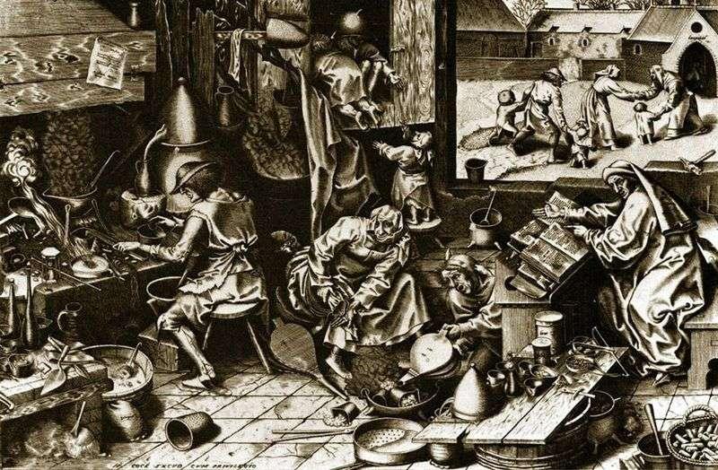 Alchemik. Grawerowanie   Peter Bruegel