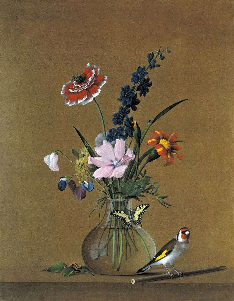 Bukiet kwiatów, motyla i ptaka   Fiodor Tołstoj