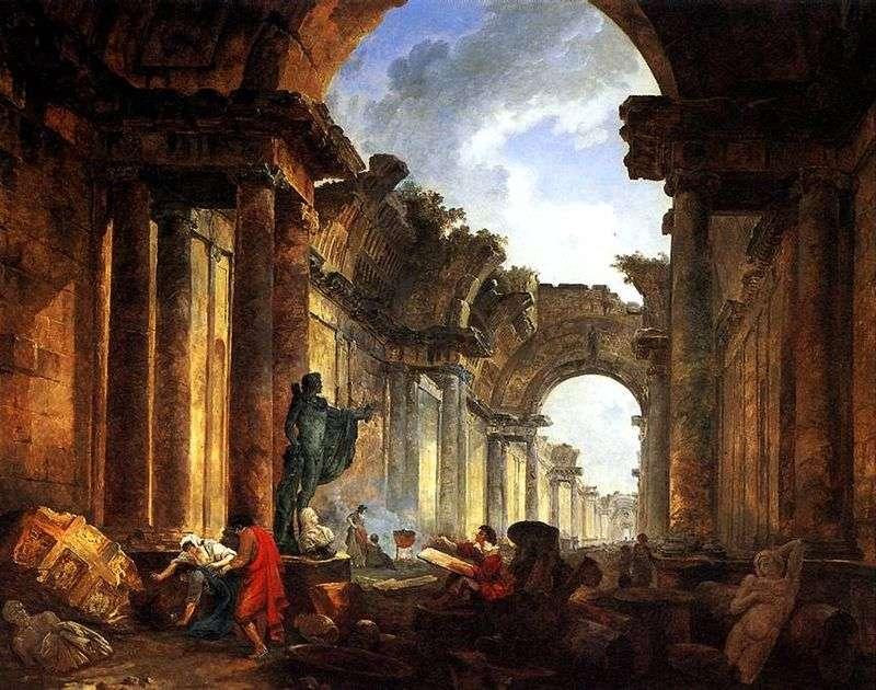 Wyimaginowany widok ruin Wielkiej Galerii   Hubert Robert