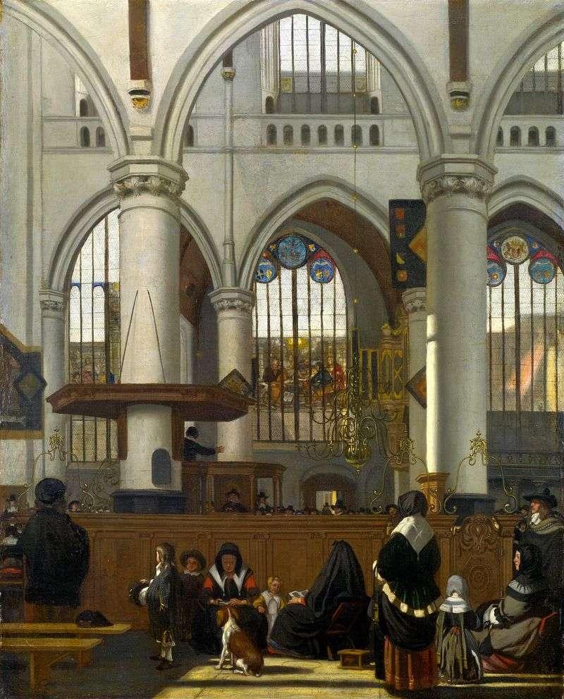 Wnętrze starego kościoła w Amsterdamie podczas służby   Emanuel de Witte