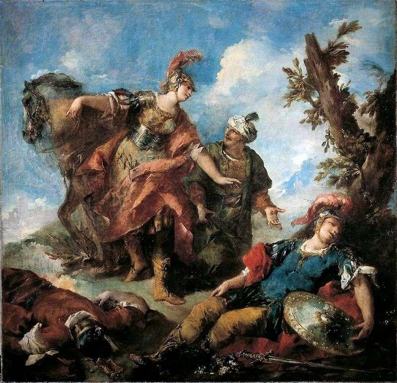 Erminia i Wafrin Znajdź rannego Tancreda   Giovanniego Antonio Guardiego