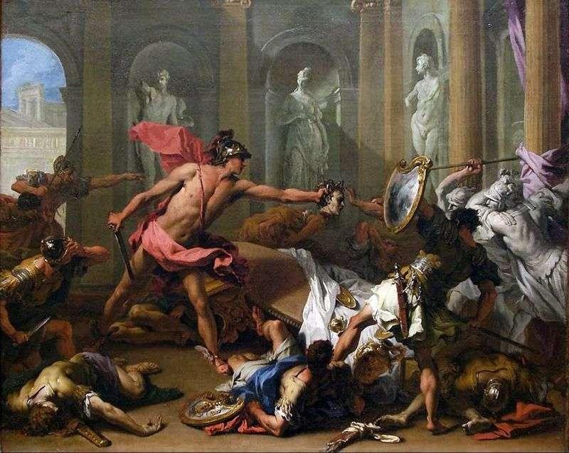 Perseusz zamienia Fineasa w kamień   Sebastiano Ricci