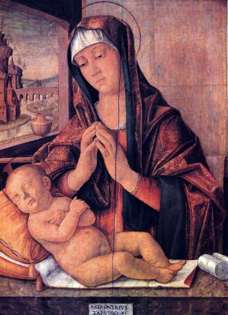 Maria ze śpiącym dzieckiem   Girolamo da Treviso