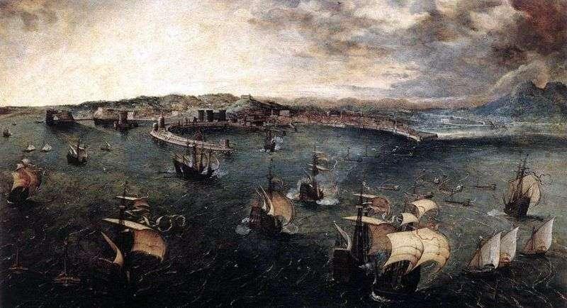 Pancernik w porcie w Neapolu   Peter Bruegel