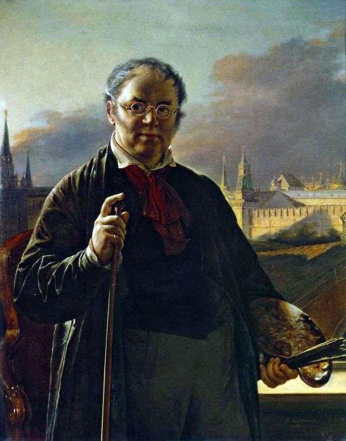 Autoportret z pędzlami na tle Kremla   Wasilij Tropinin