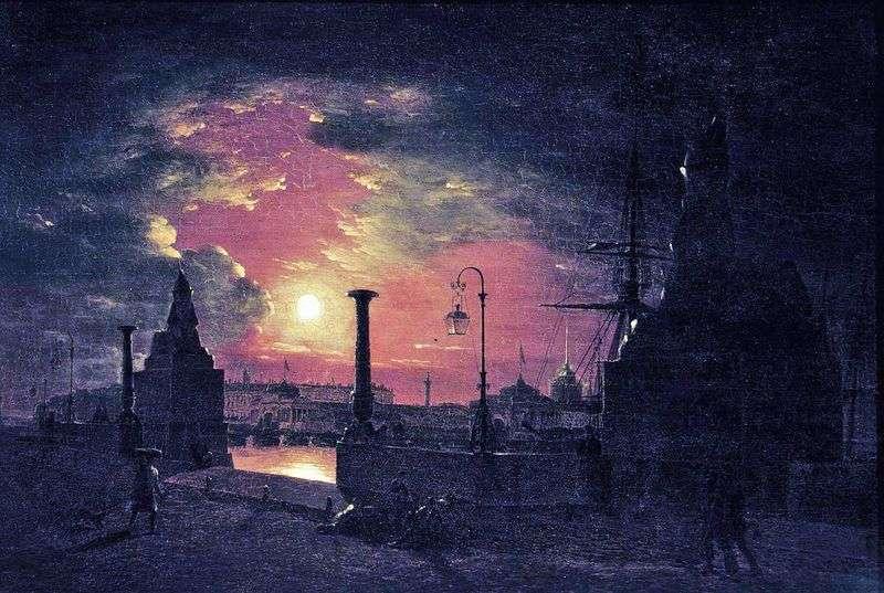 Noc jesienna w Petersburgu. Molo z egipskimi sfinksami nad rzeką Newą nocą   Maxim Vorobiev
