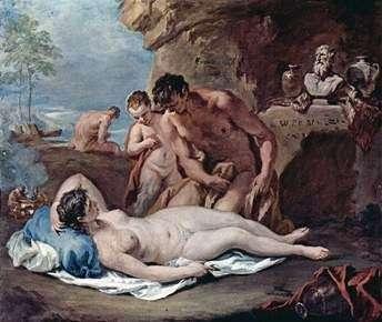 Śpiąca nimfa i dwie satyry   Sebastiano Ricci