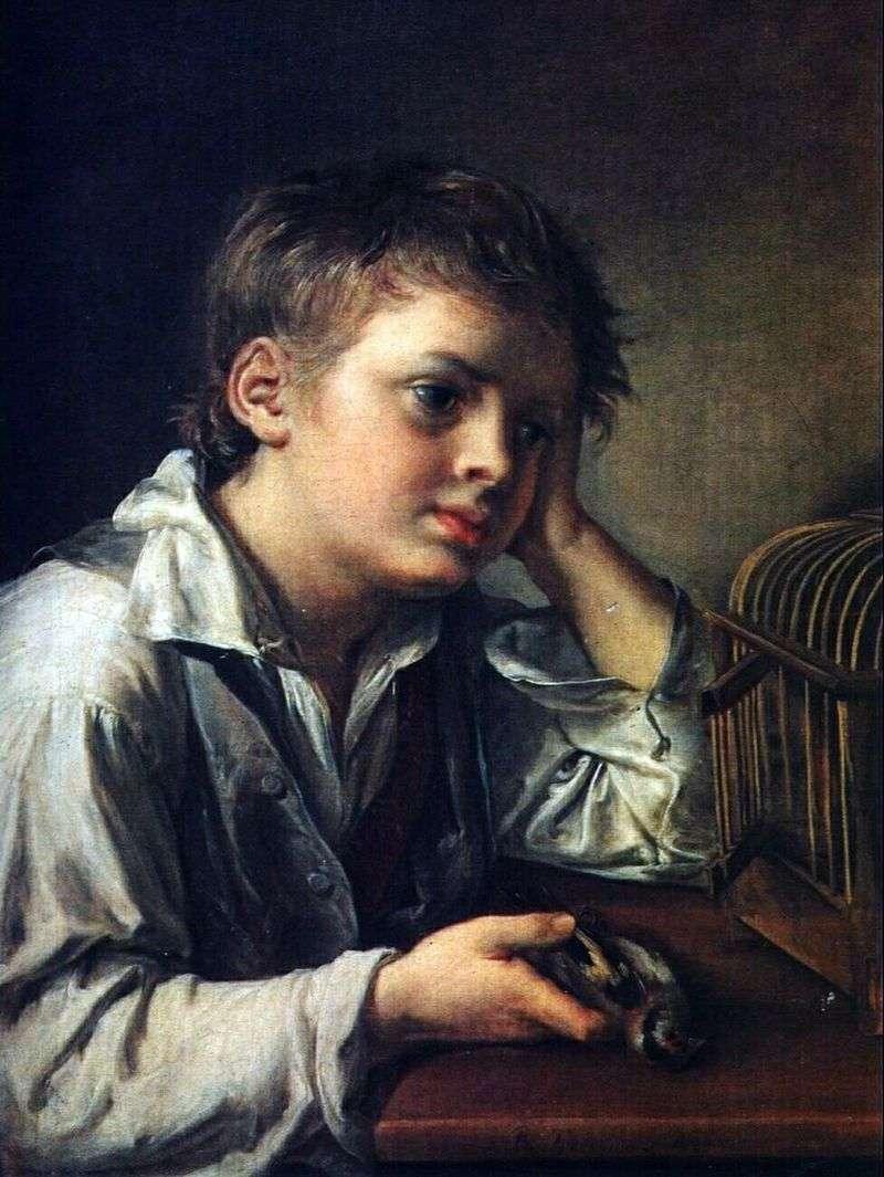 Chłopiec, który tęskni za martwym ptakiem   Vasily Tropinin