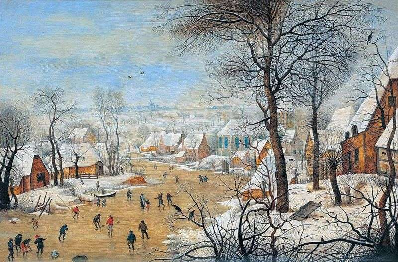 Krajobraz z łyżwiarzami i pułapką na ptaki   Pieter Bruegel