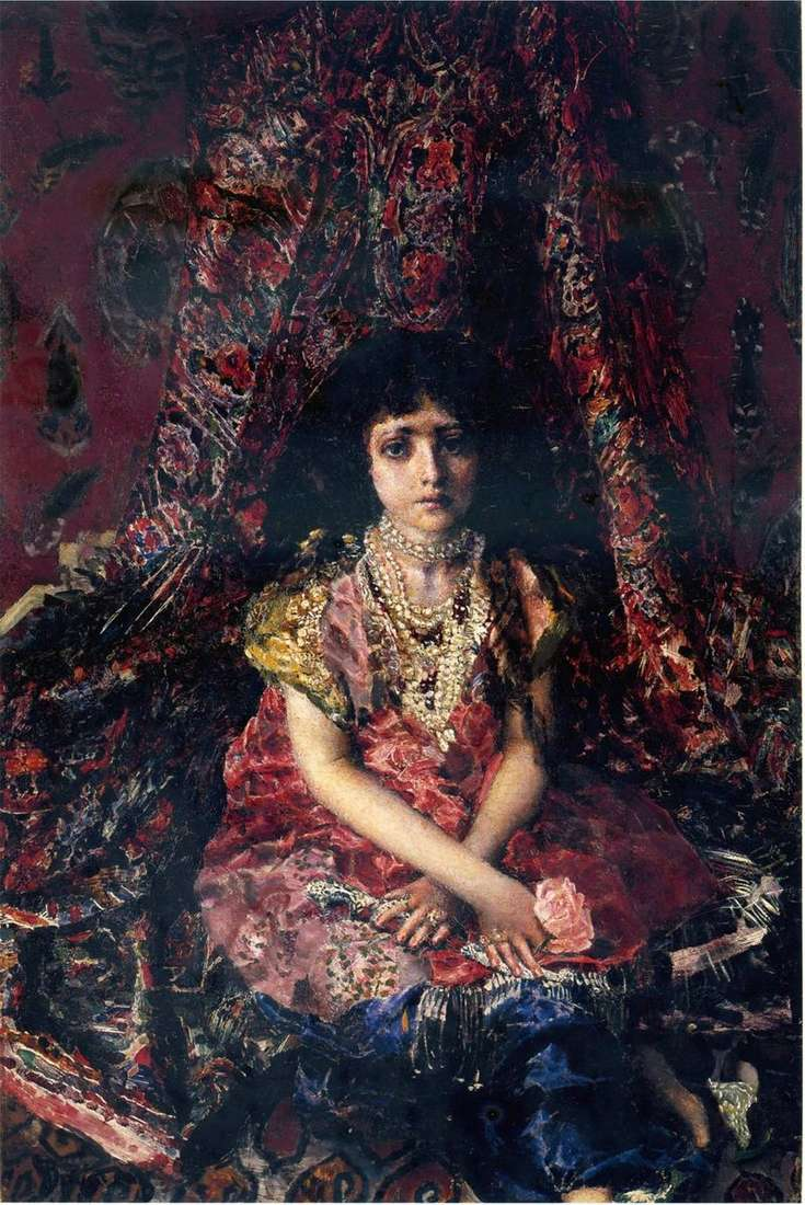 Dziewczyna na tle perskiego dywanu   Michaił Vrubel