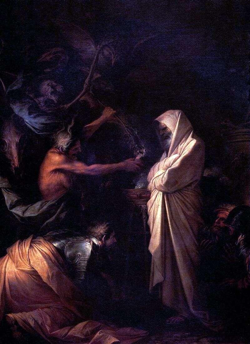 Duch Samuela Wzywany do Saula przez Czarodziejkę z Aendoru   Salvatore Rosa