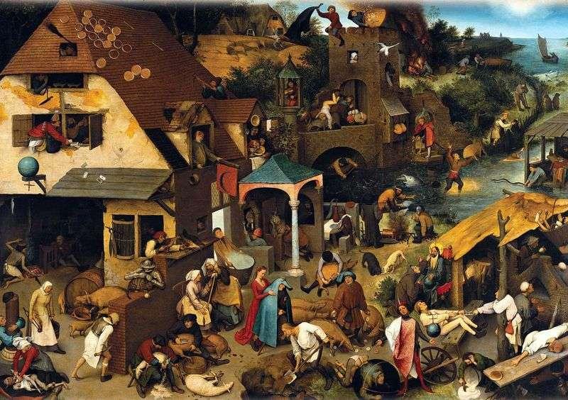 Przysłowia (niebieski płaszcz)   Peter Bruegel