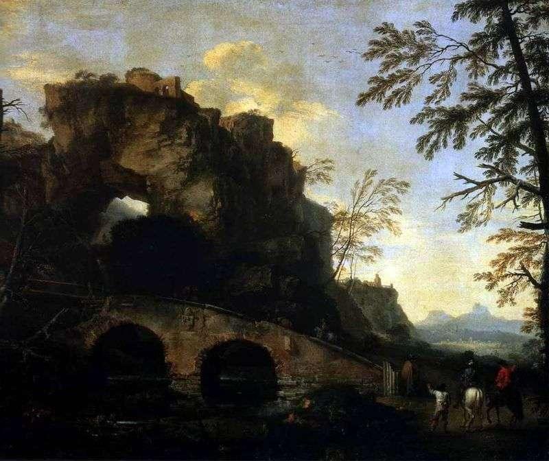 Pejzaż ze zniszczonym mostem   Rosa Salvatore