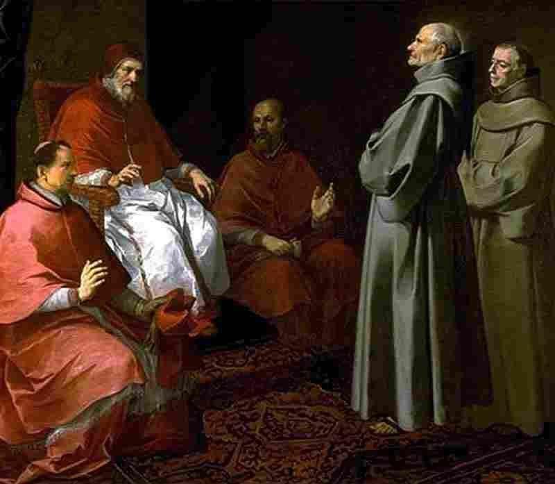 Błogosławiony Gilles przed Grzegorzem IX   Bartolomeo Esteban Murillo
