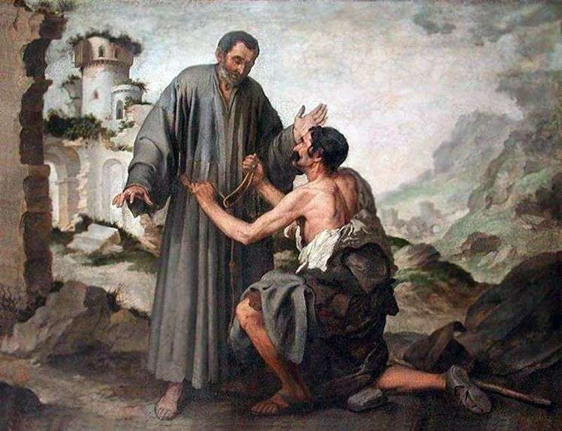 Brat Juniper i żebrak   Bartolomeo Esteban Murillo
