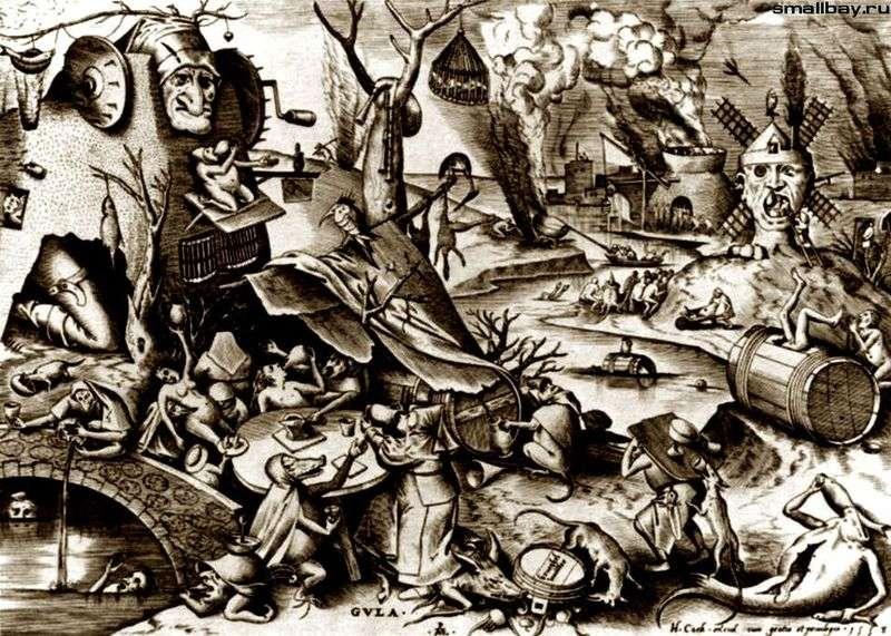 Obżarstwo. Grawerowanie   Peter Bruegel