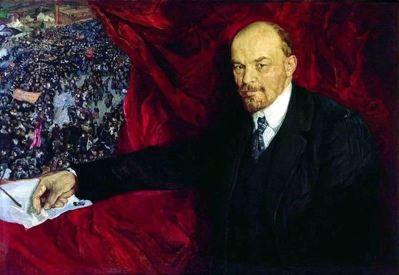 Lenin i manifestacja   Izaak Brodski