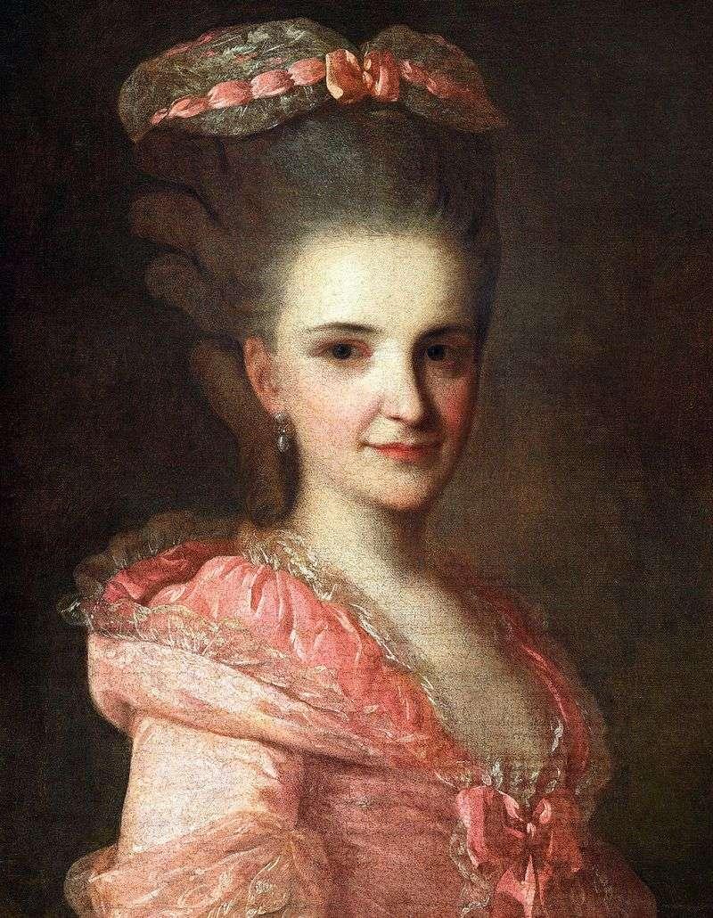 Portret nieznanej kobiety w różowej sukience   Fedor Rokotov