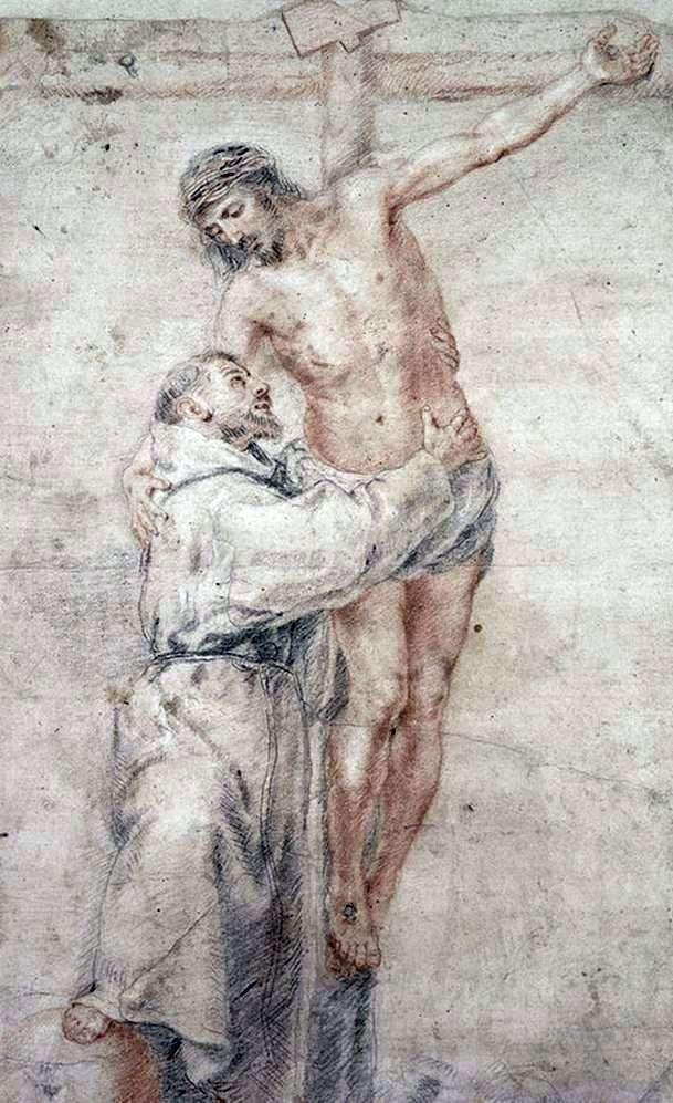 Święty Franciszek Obejmujący Chrystusa   Bartłomiej Esteban Murillo