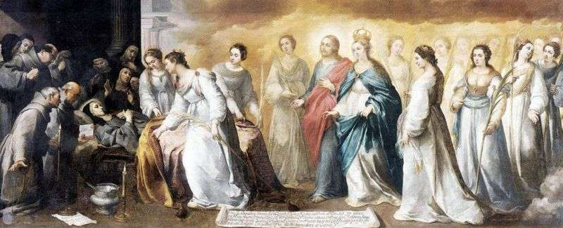 Śmierć świętej Klary   Bartolome Esteban Murillo